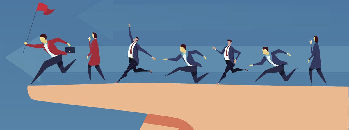 7 Reason Business Management 1200x450 - Cartoon business people running right to left