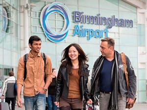 International students at airport
