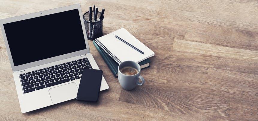 Laptop on work desk