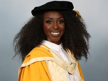 Dr Laura Mvula in hat and gown credit Birmingham City University