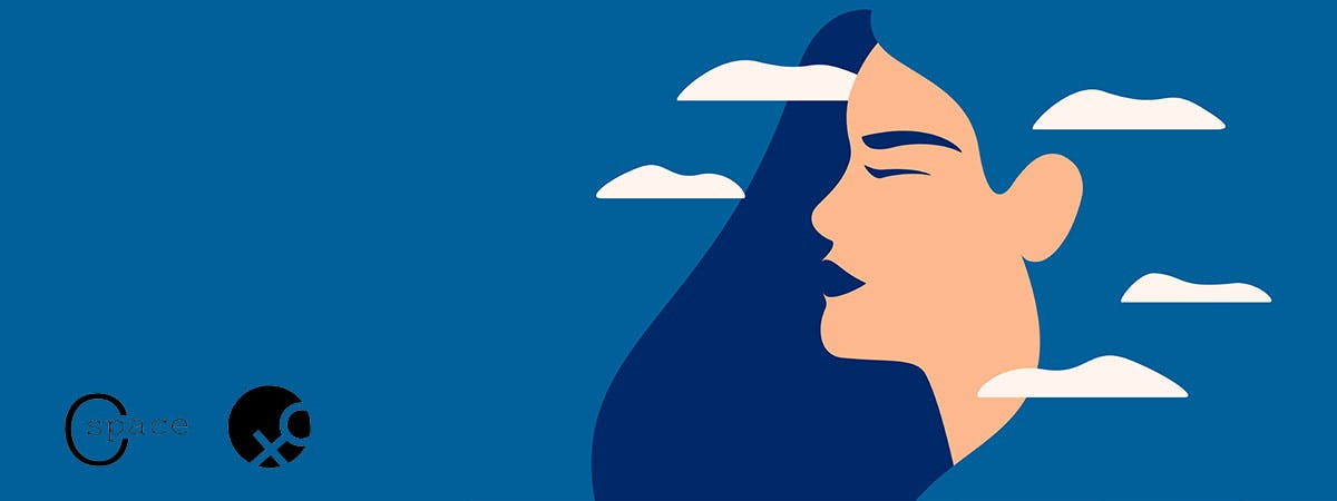 Illustrated image of a woman in thought