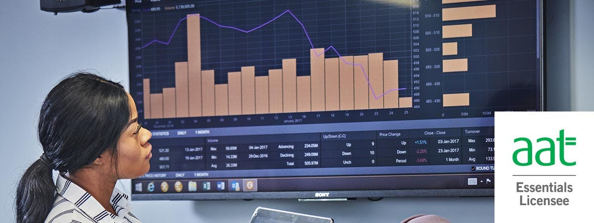 AAT One Day Accounting Course Intro Image - Woman looking at financial data