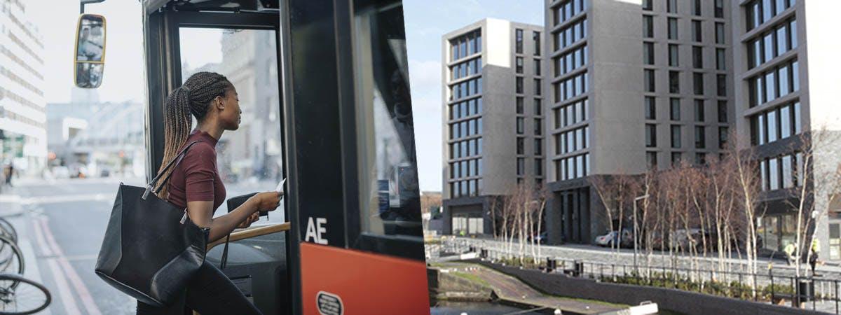 Accommodation vs Commuting 1200x450 - Woman getting on a bus vs University Locks accommodation