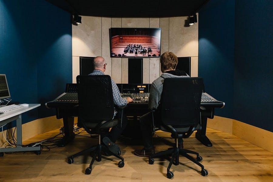 Simon Hall in concert hall control room