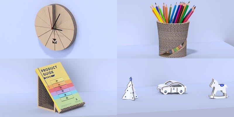 Prototypes of Beth's designs in cardboard