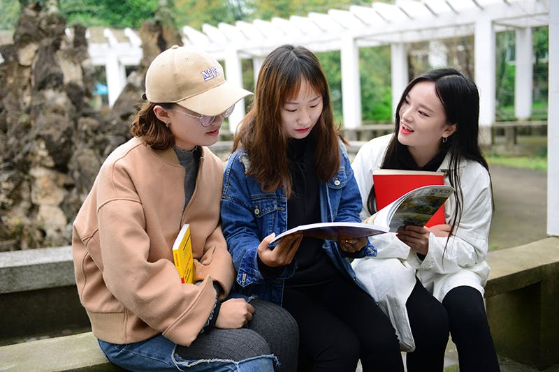Students reading outside campus