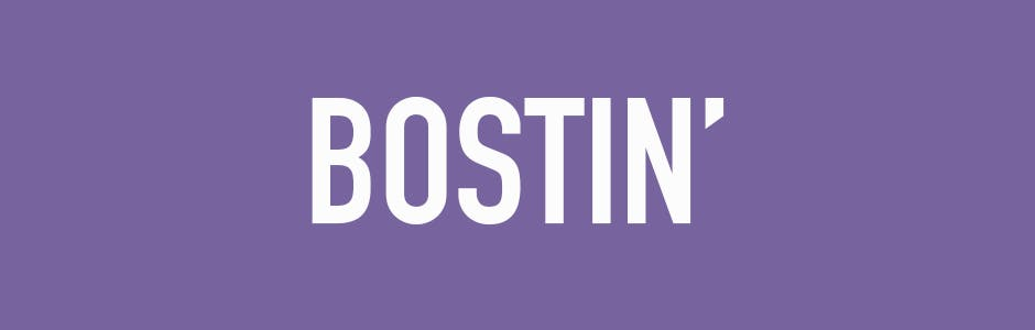 the word bostin on purple background