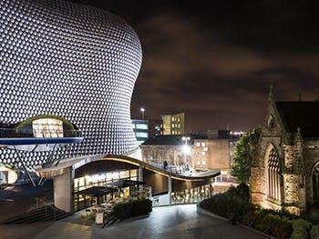 Birmingham Night Time - Selfridges and church