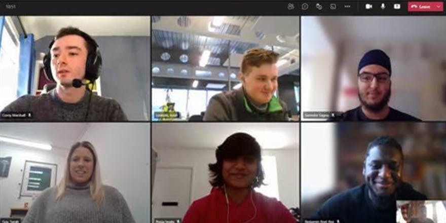 Zoom screenshot of students from Zero Carbon Project