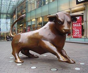 Bullring Bull 300x250 - Bronze bull statue outside Bullring shopping centre