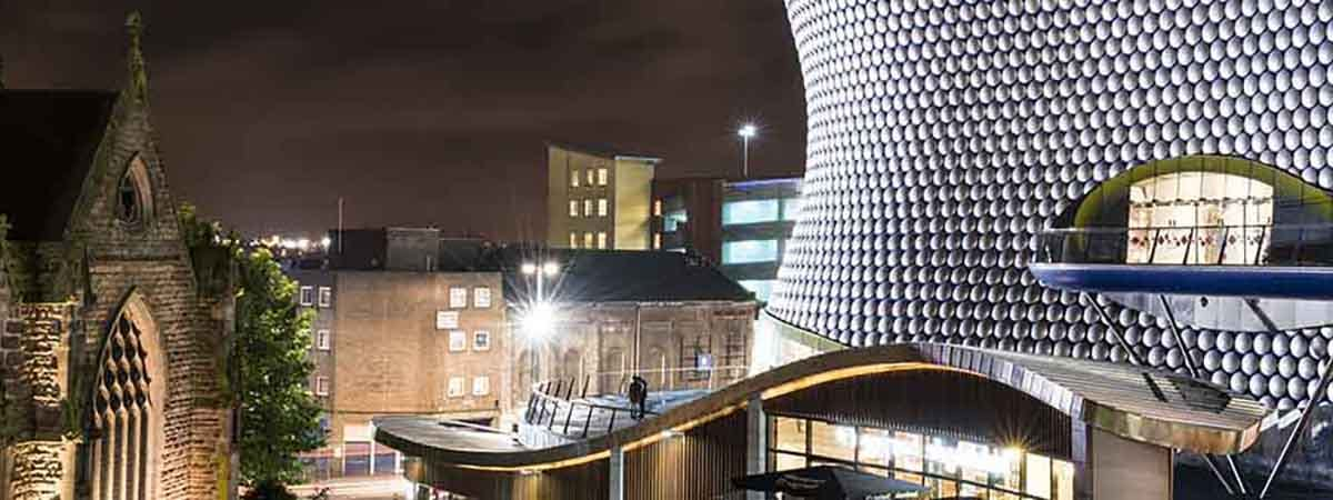 Bullring Rear 1200x450 - Outside shot of Selfridges and Cathedral (Flipped image)