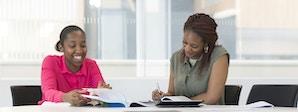 Business Management (Enterprise) - BA (Hons) Course Image 1200x450 - Two women with a laptop