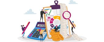 Business School Staff Pages (Accounting) - 341x149 - Cartoons in front of accounting equipment