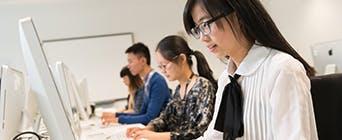 International students at work