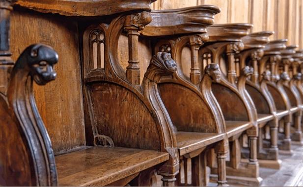 Empty choir stalls