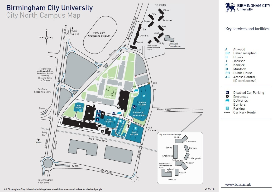 Birmingham City University  City North Campus  Campus Map