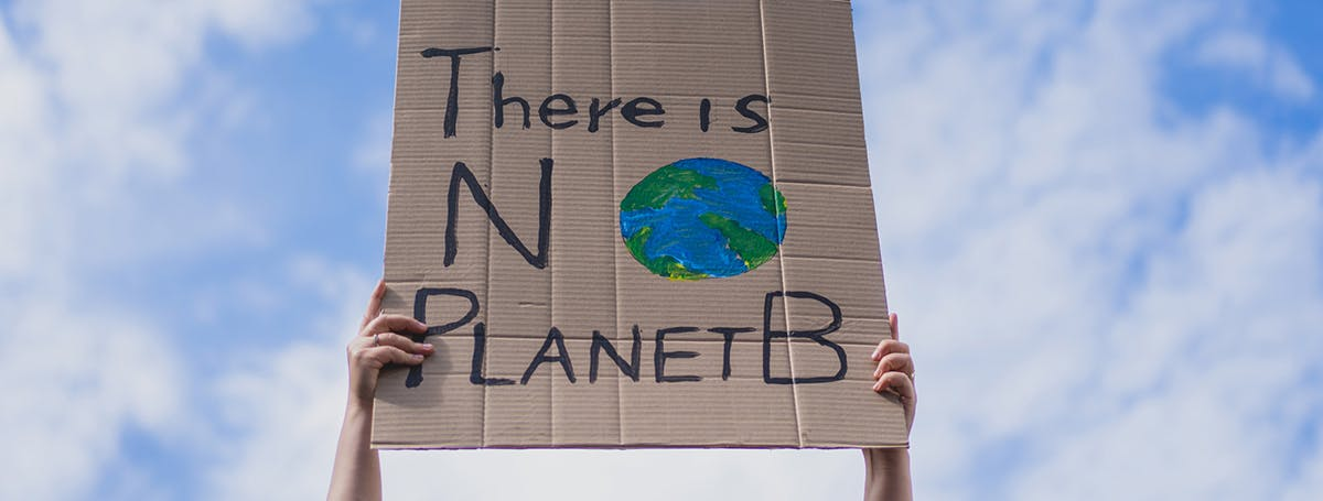 Climate change protestor with a sign saying 'No Planet B'