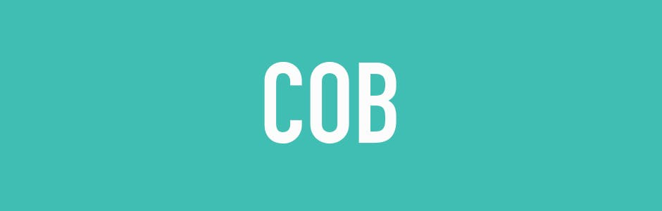 word cob on green background