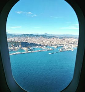 Conor Dennehy Erasmus Article 2 - Barcelona port out of a plane window