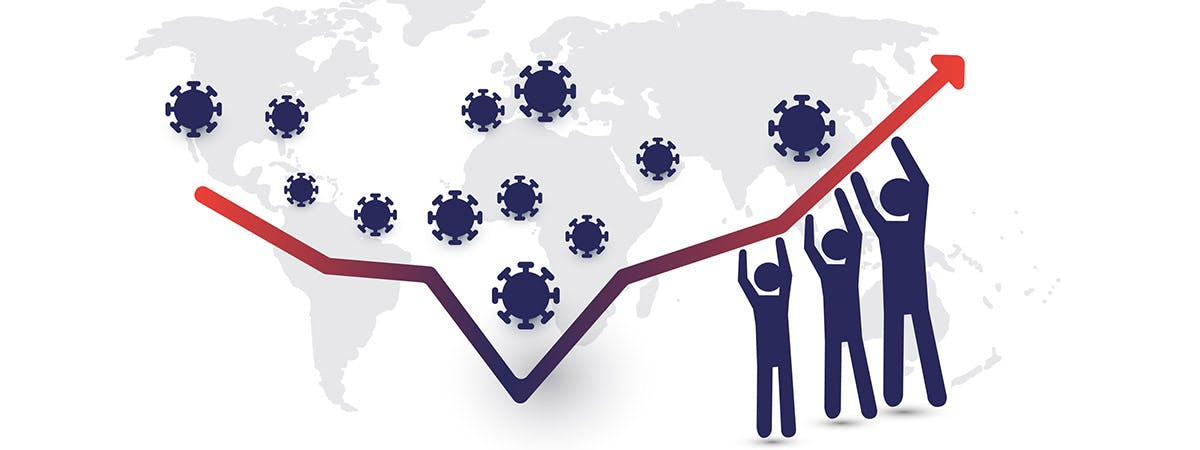 COVID Economic Recovery 1200x450 - Cartoon globe with a finance chart on top