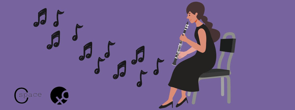 Woman playing the clarinet to mirror PhD student Lynn Holman-Fox