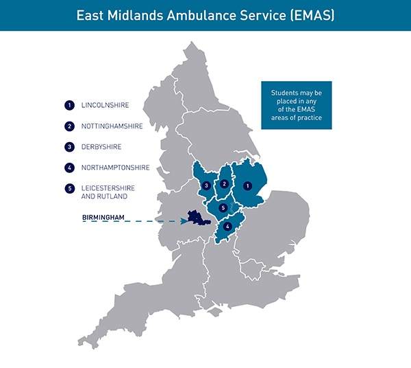 Paramedic placement map