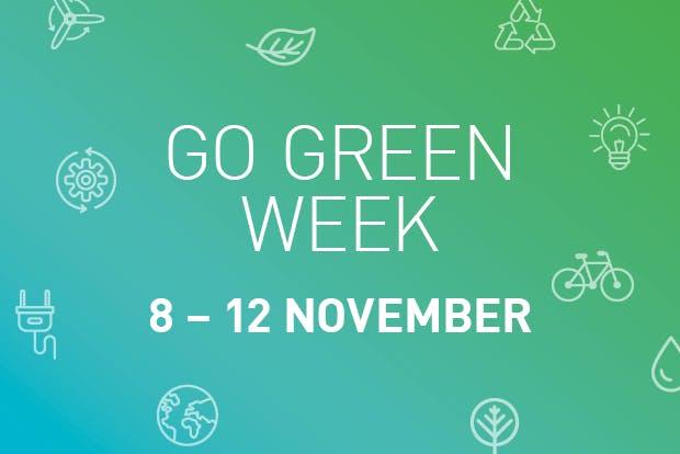 Logo for Go Green Week November 2021. Says Go Green Week 8-12 November.
