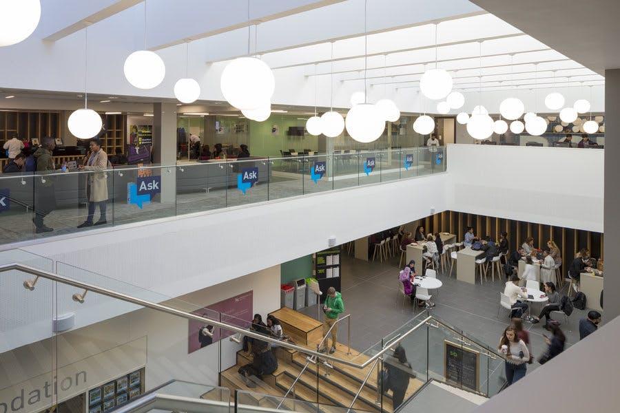 The light filled atrium leads into the café and restaurant.