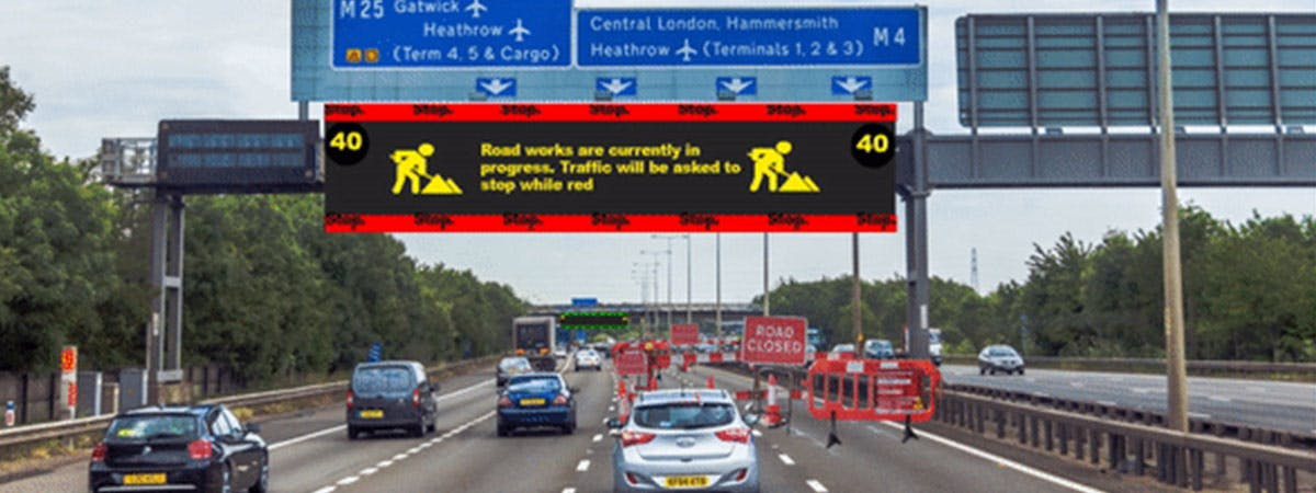 Motorway with electronic signage