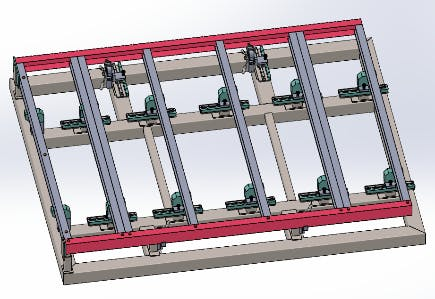Figure 3: Fixed Tooling, Flexible Tooling Pallet with movable clamps