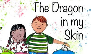 Illustrated book cover of two children sitting next to a dragon