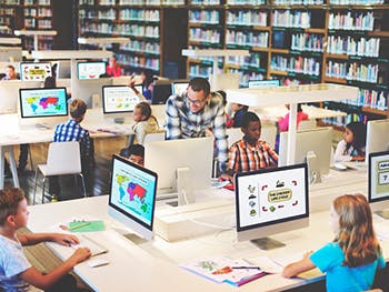 Centre for Brexit Studies Education Image 350x263 - Kids in a library using computers