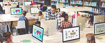 Centre for Brexit Studies Education Image 341x139  - Library with kids using computers