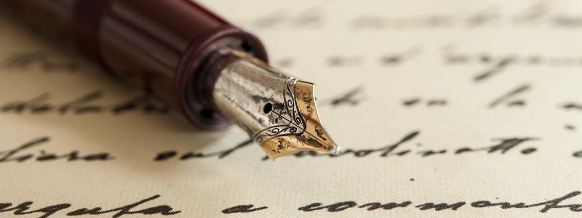 Handwritten poetry n fountain pen