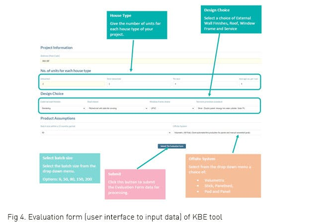 Evaluation form (user interface to input data) of KBE tool