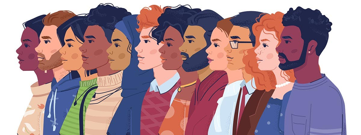 Five Traits Youth Work 1200x450 - Cartoon men and women looking to the left