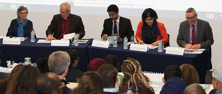 Future of the Multi Faith Society Slider Image 710x301 - Men and women sat on a panel