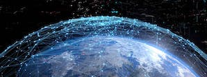 Global Business Operations Course Image 1200x450 - A globe with a network spread across it