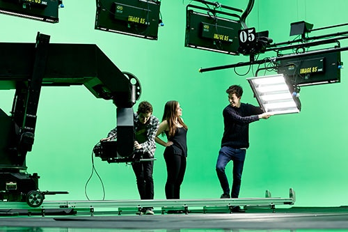 Green screen in The Parkside Building.
