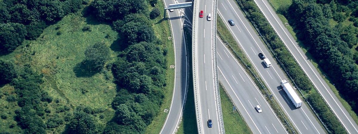 Roads running through countryside