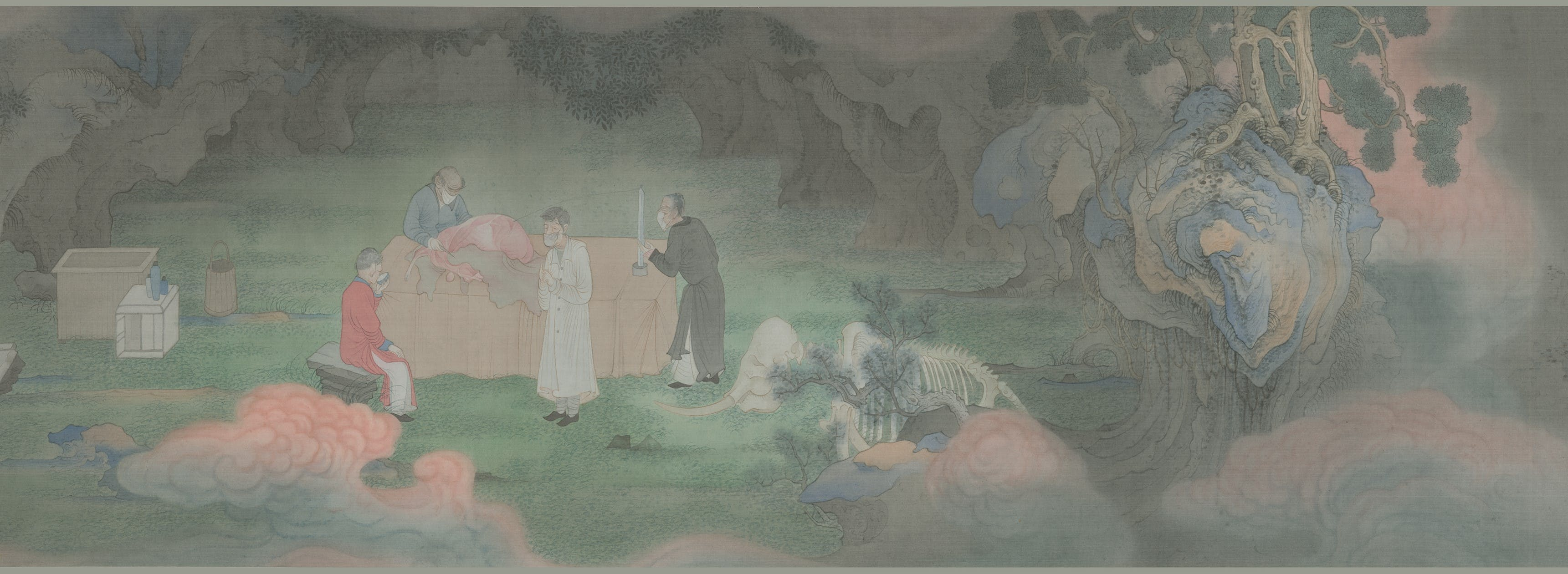 Hao Liang, The Tale of Clouds, 2013 (detail). Ink and colour on silk, 42 × 1,000 cm.