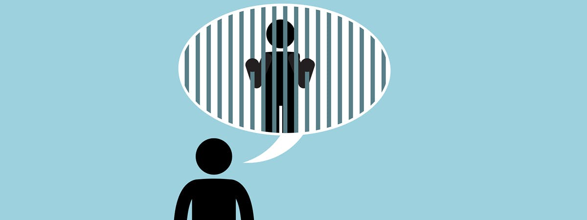 HMP Grendon Article 1200x450 - Cartoon man with a speech bubble featuring a man behind bars