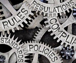 Law School - Research - Research Projects Homepage Image 350x263 - Cogs with law terms on them