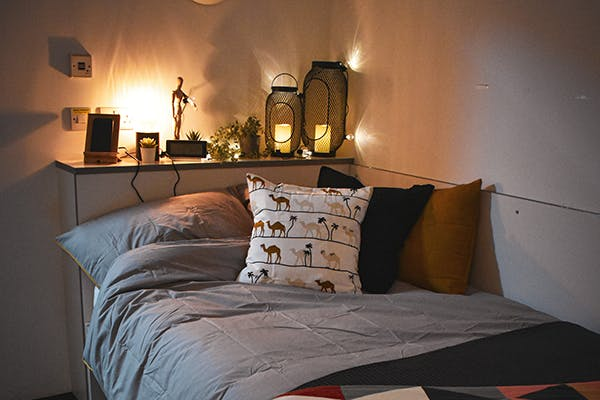 Student bedroom featuring IKEA products