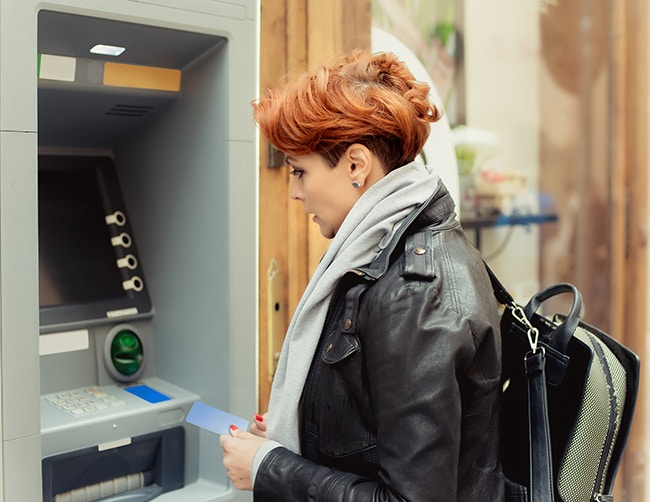 Student using cash machine