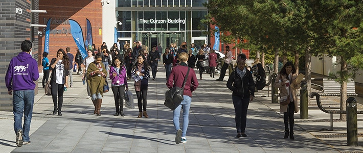 students outside Curzon Building