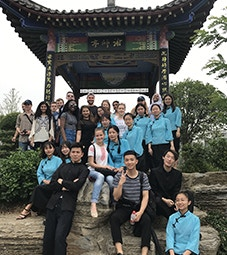 International Study Trips Flip Card Image 227x255 - Students in front of a pagoda in China