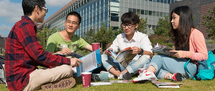 Groupf of Chinese students outside Millennium Point