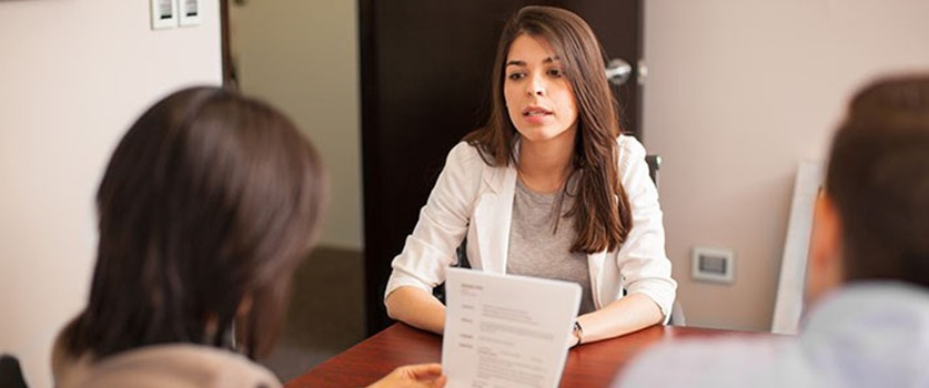 Student at interview