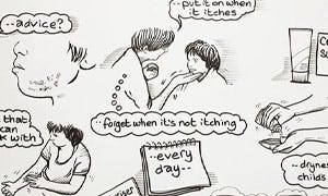 A still from an animation highlighting how to manage eczema